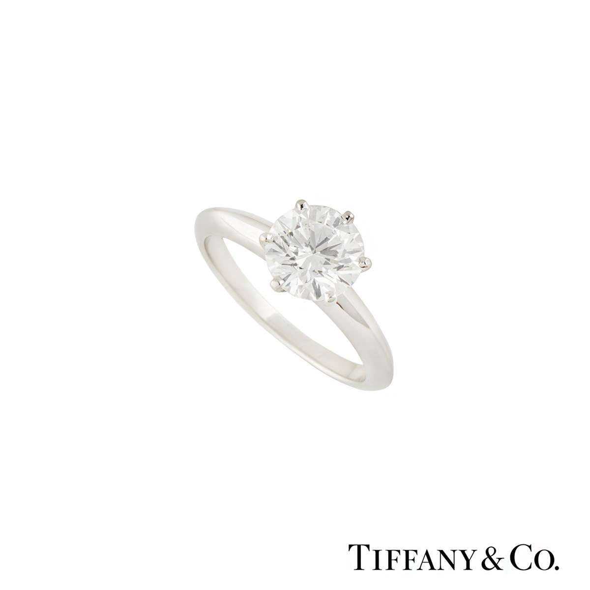 Tiffany & Co. Platinum Setting Band Diamond Ring 1.50ct H/VVS2